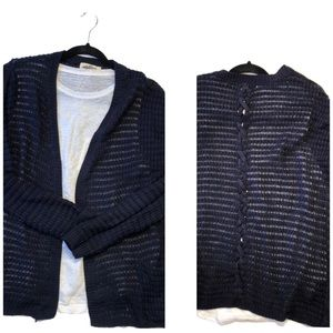 Navy blue Hippie Rose cardigan with pockets